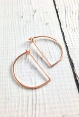 Rose Gold Filled Small Half Moon Minimal Hoop Earrings