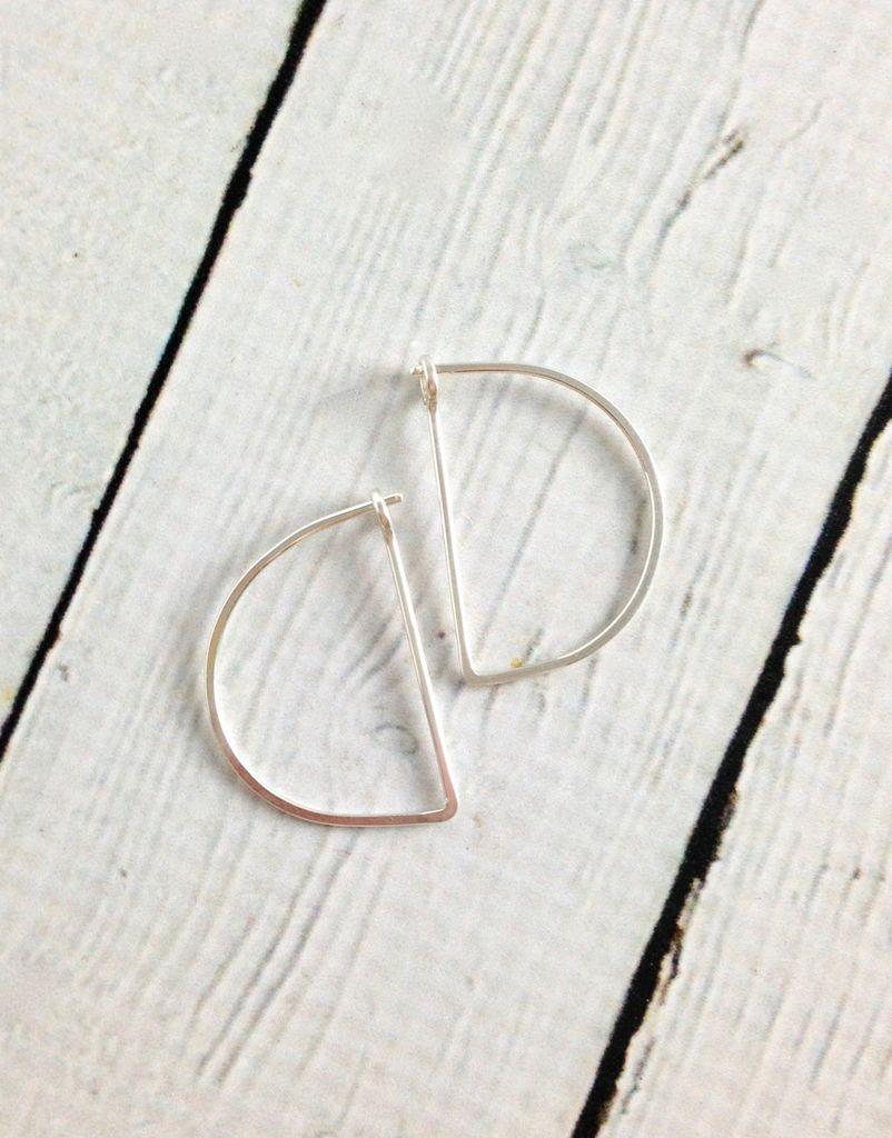 Sterling Silver Small Half Moon Minimal Hoop Earrings