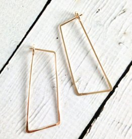 Gold Filled Shift (Large Angled Rectangle) Minimal Hoop Earrings