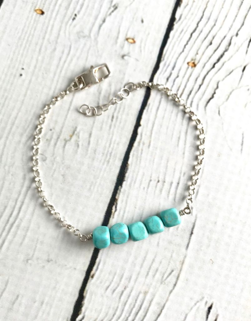 Handmade Sterling Silver Bracelet with 5 Square Turquoise, Shiny Rolo