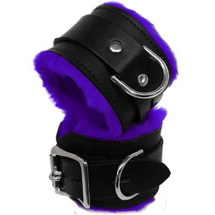KK LOCKING LEATHER CUFFS, FLEECE LINED