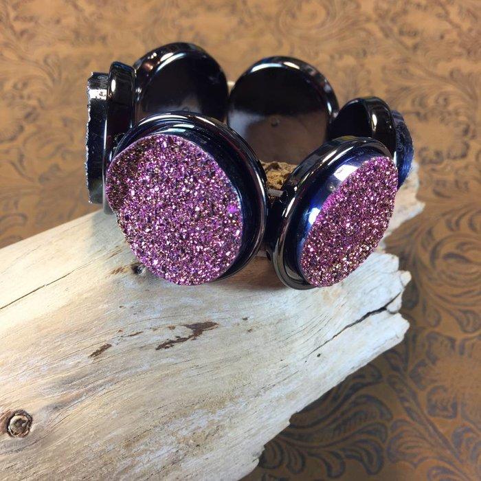 Purple Round Druzy Stretch Bracelet