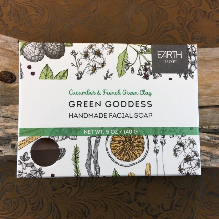 Cucumber & French Green Clay Green Goddess Handmade Facial Soap by Earth Luxe