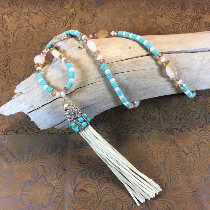 Cream Tassel Necklace with Crystal and Turquoise