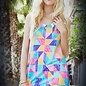 Geo Print Shift Dress Coral