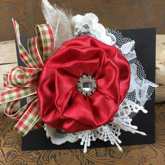 Gingham & Lace Red Flower Hairclip