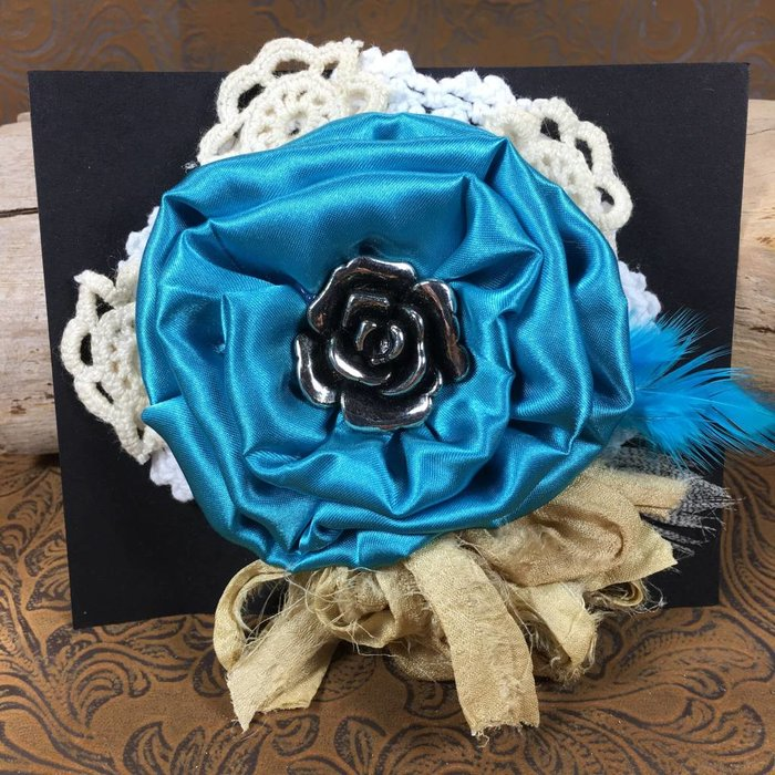 Turquoise Flower & Bling Broach
