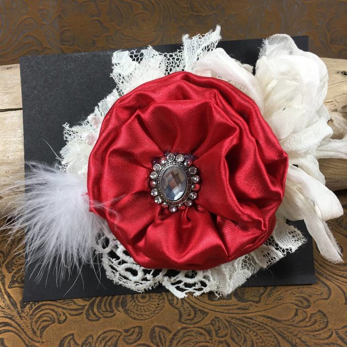 Red Flower with Lace & Bling Broach