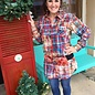 Plaid Red Crystal Pearl Snap Tunic