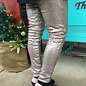 Champagne Sequin Stretch Waist Pants