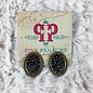 Mini Bronze Oval Stud Earrings with Black Crystals
