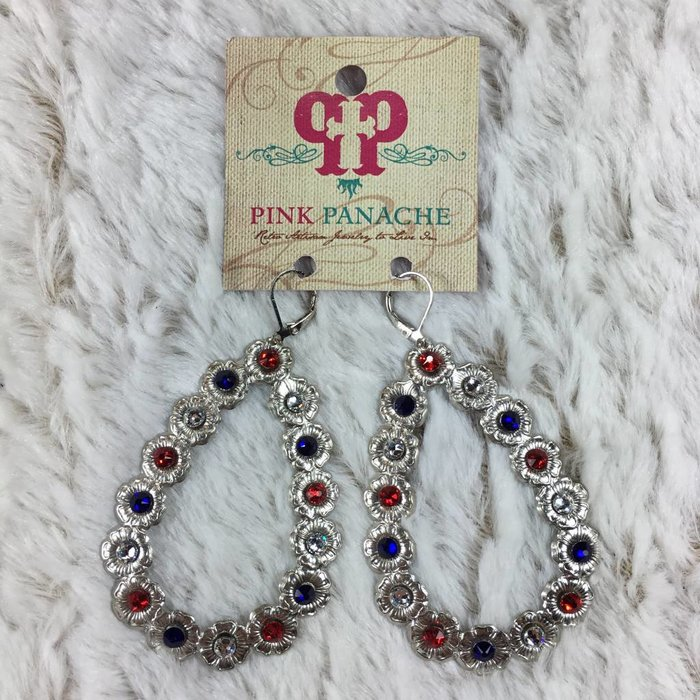 Silver Open Teardrop Earrings with Red White & Blue Crystals
