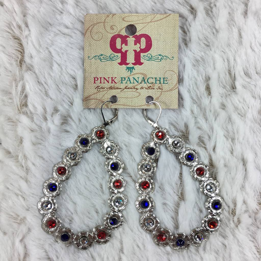 Silver Open Teardrop Earrings With Red White Blue Crystals