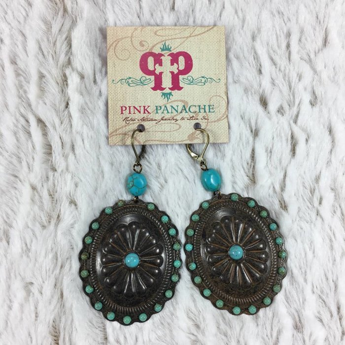Rusty Scallop Concho Earrings