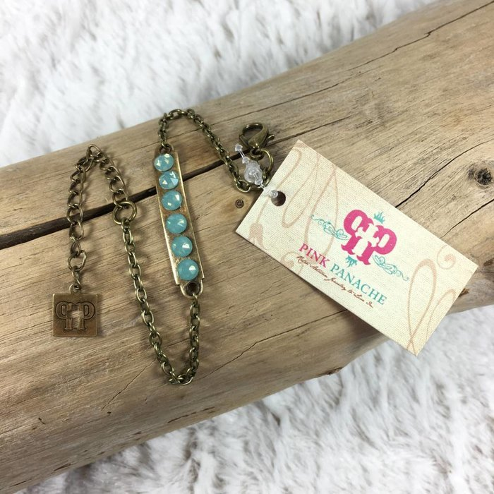 Bar on Chain Bracelet with PACIFIC OPAL Crystals