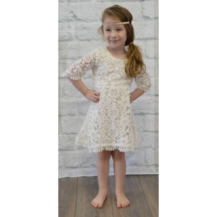 Girls White Lace Spring Dress