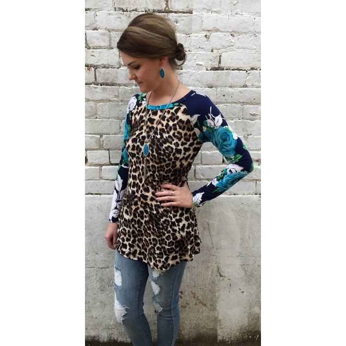 Blue Rose Leopard Tunic