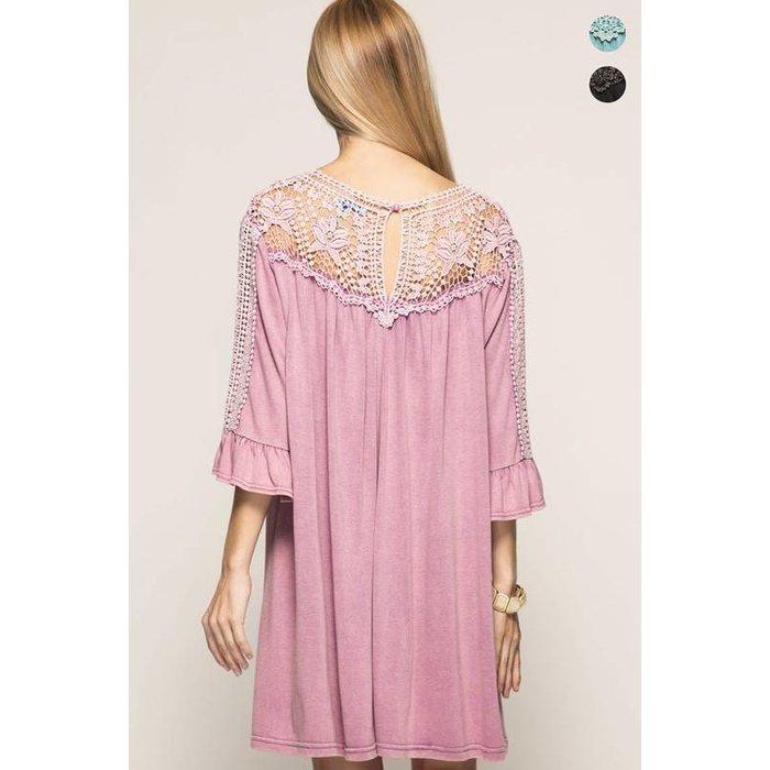 Lavender Lace Shoulder Dress