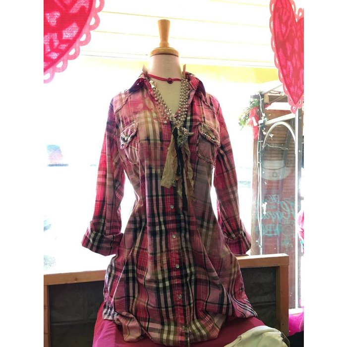 Pink Plaid Pearl Snap Tunic