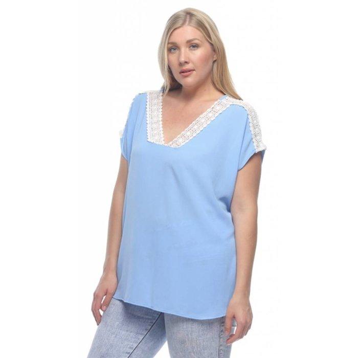 Plus Blue Lace Trimmed V-Neck Top