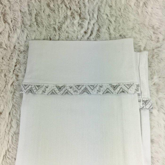 White Aztec Sequin Capri Jeans