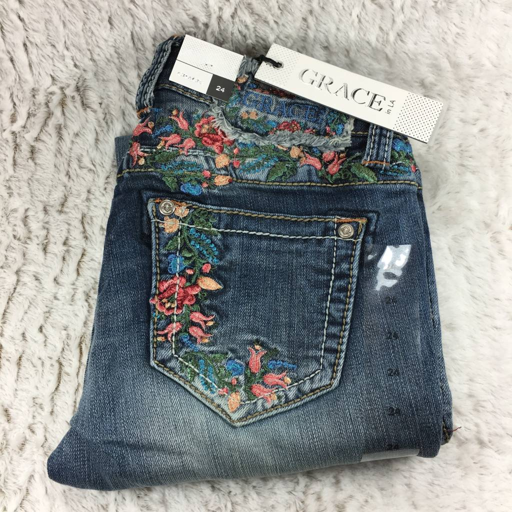 Grace In La Skinny Rose Garden Embroidered Jeans