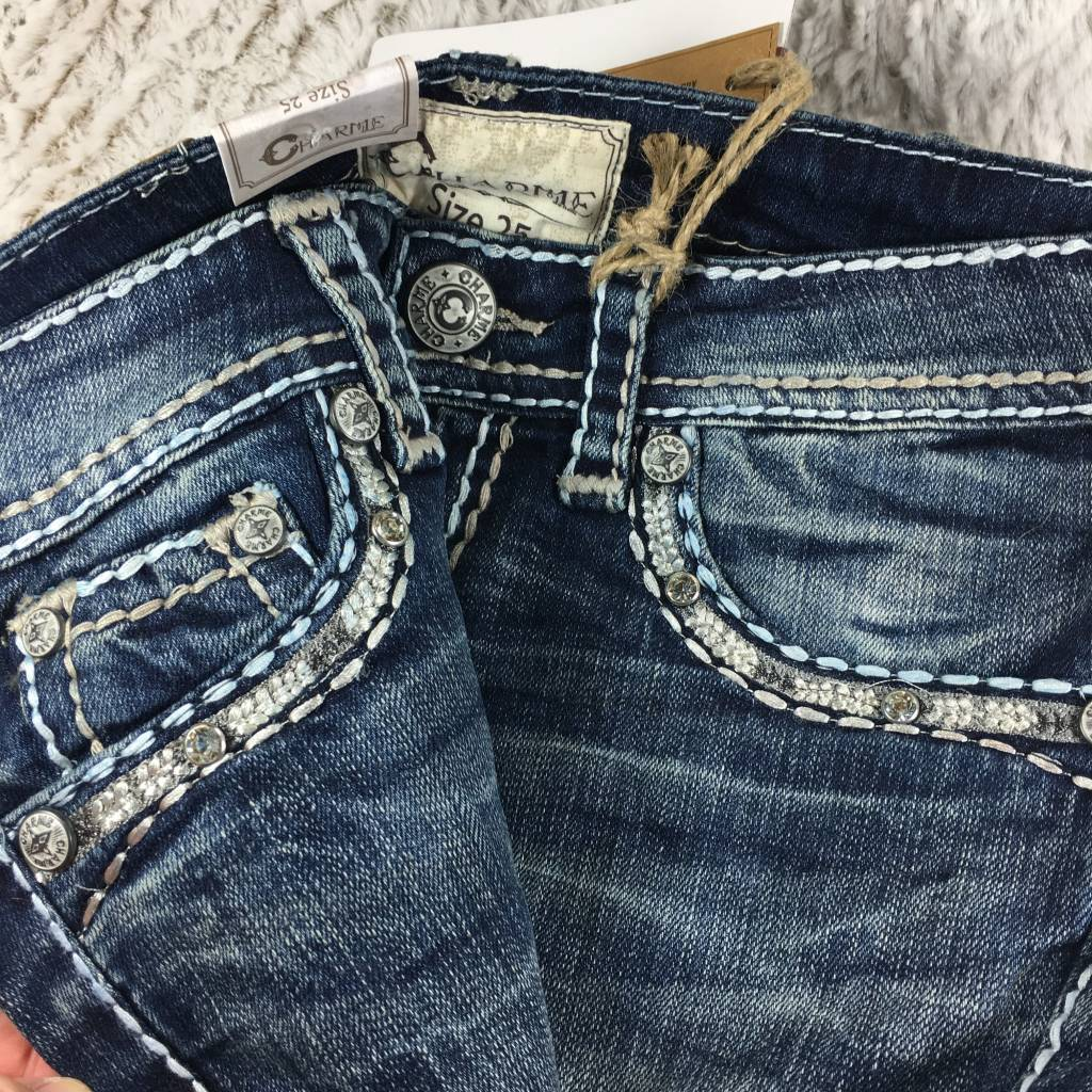Grace In La Charme White Stitch Jeans Theblingboxonline Com