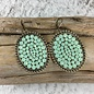 Large Bronze Oval Earrings with Mint Crystals