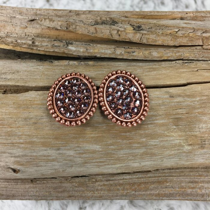 Mini Rose Gold Oval Stud Earrings with Rose Blush Crystals