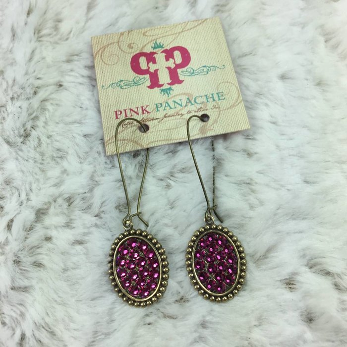 Mini Bronze Oval Earrings with Fuchsia Crystals