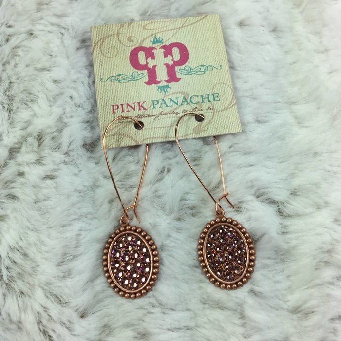 Mini Rose Gold Oval Earrings with Rose Blush Crystals on Kidney Wire