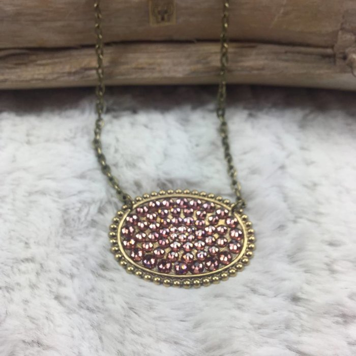 Bronze Sideways Oval with ROSE BLUSH Crystals on chain