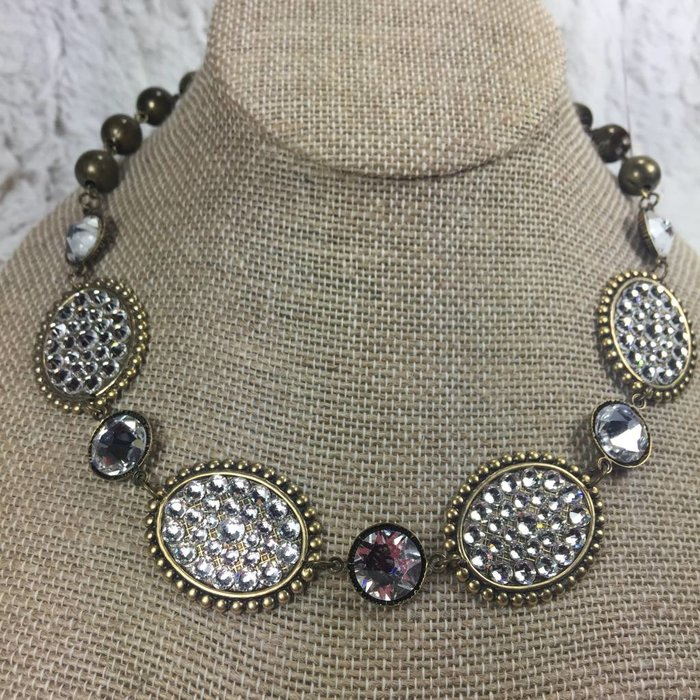 Small Bronze Ovals with CLEAR Crystals Necklace and Large CLEAR Connectors
