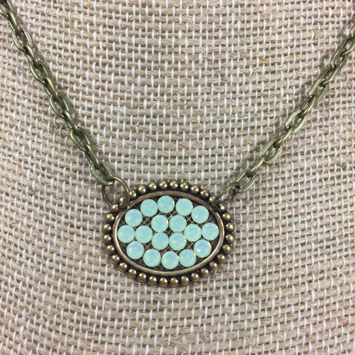 Mini Bronze Sideways Oval Necklace with Mint Crystals