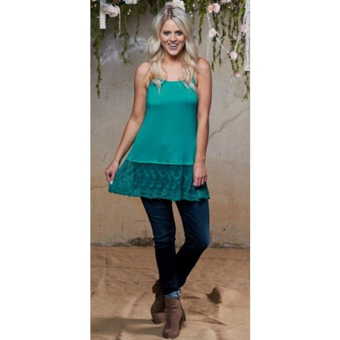 Taylor's Cami with Turquoise Lace Trim