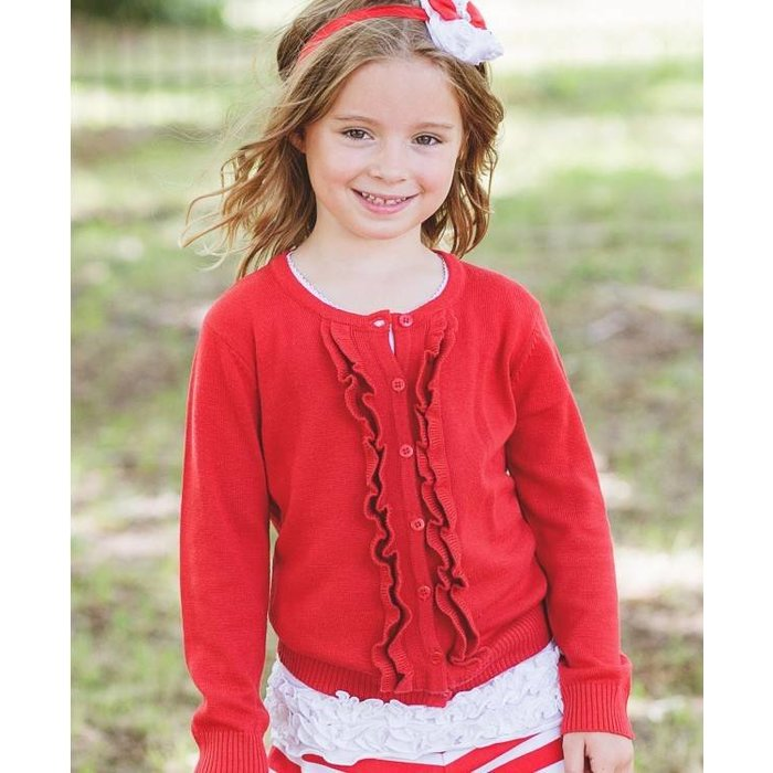 Ruffle Butts Red Ruffled Cardigan