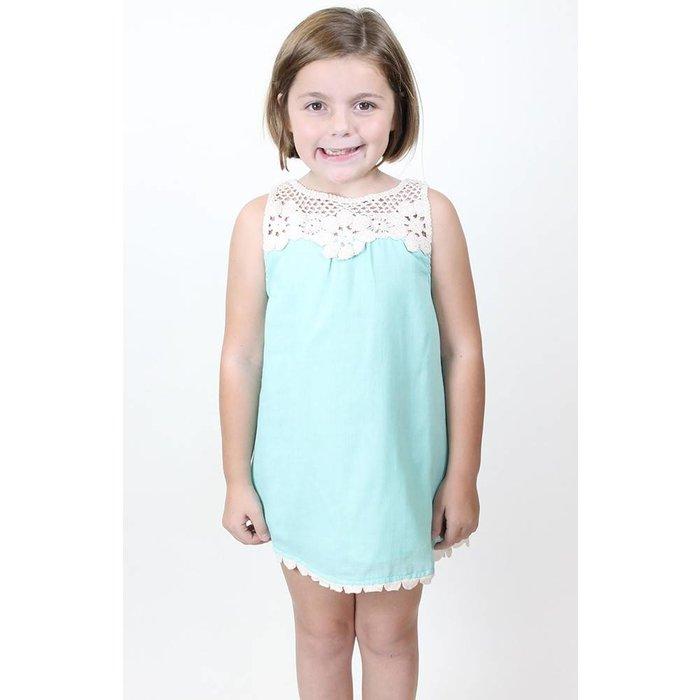 Floral Crochet Mint Dress - 13-14Y