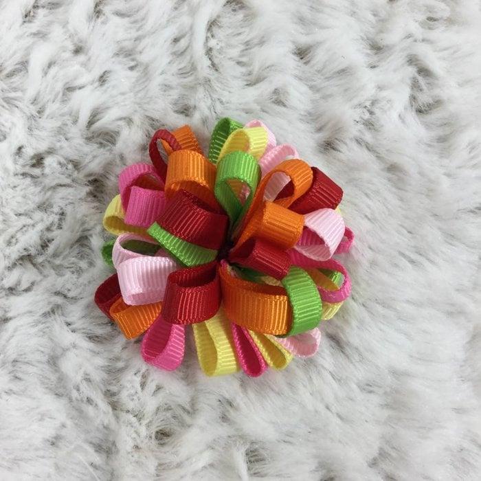 Multi Colored Bow on Orange Clip