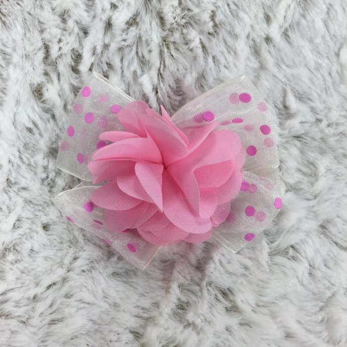 Pink Flower on Pink Polkadot Bow