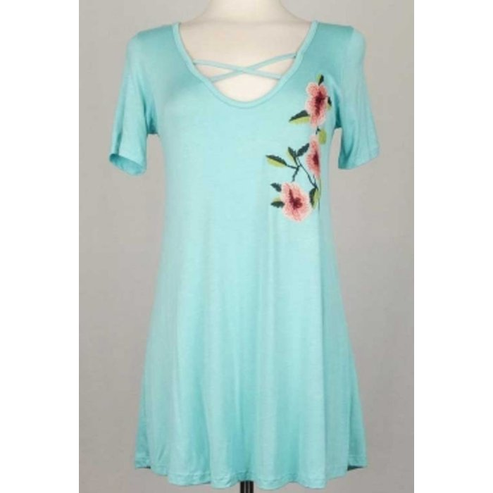 Tunic w/ Embroidered Flower - Turquoise