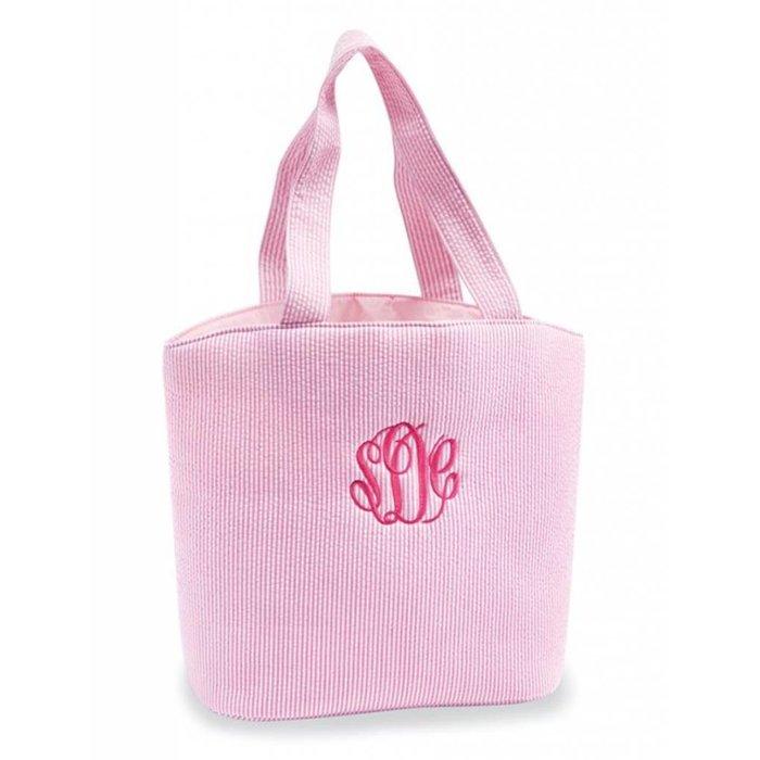 Pink Seersucker Tote Bag