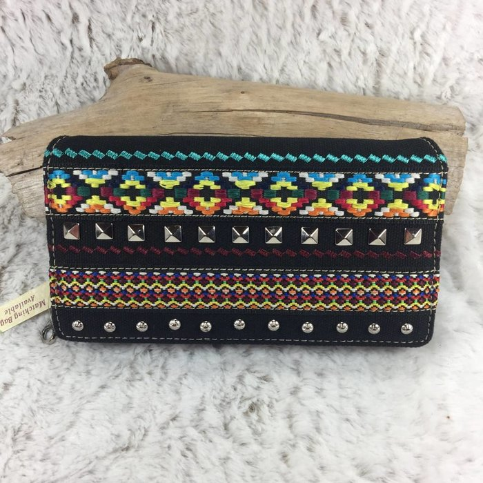 Aztec and Silver Stud Wallet