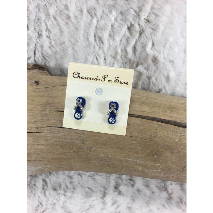 Flip Flop Blue Tiger Paw Earrings
