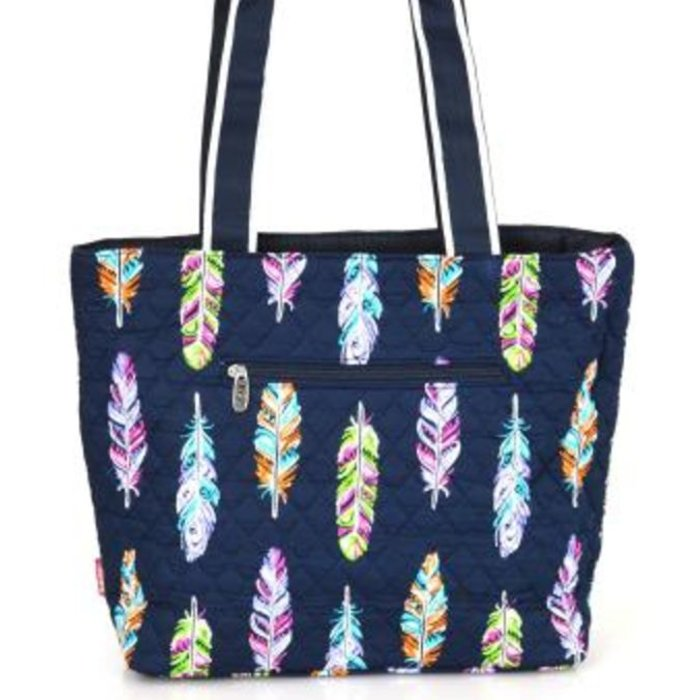 Feather Quilted Diaper Bag - NAVY