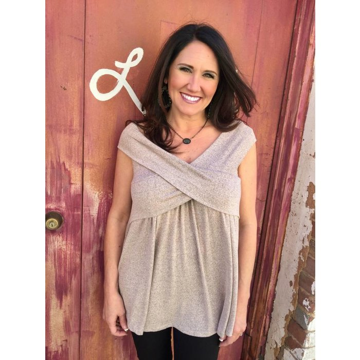 Off Shoulder Crossed Chest Top - Taupe