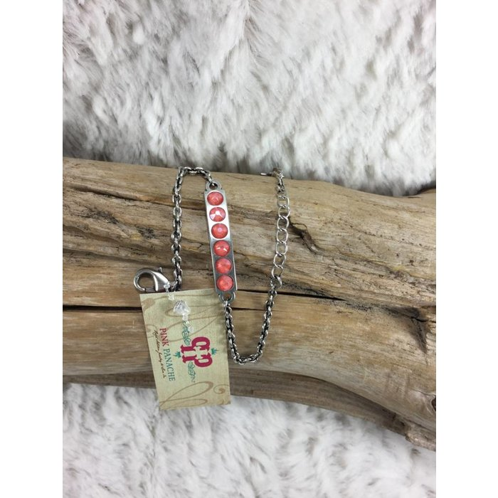 Silver Candy Coral Swarovski Bar Bracelet