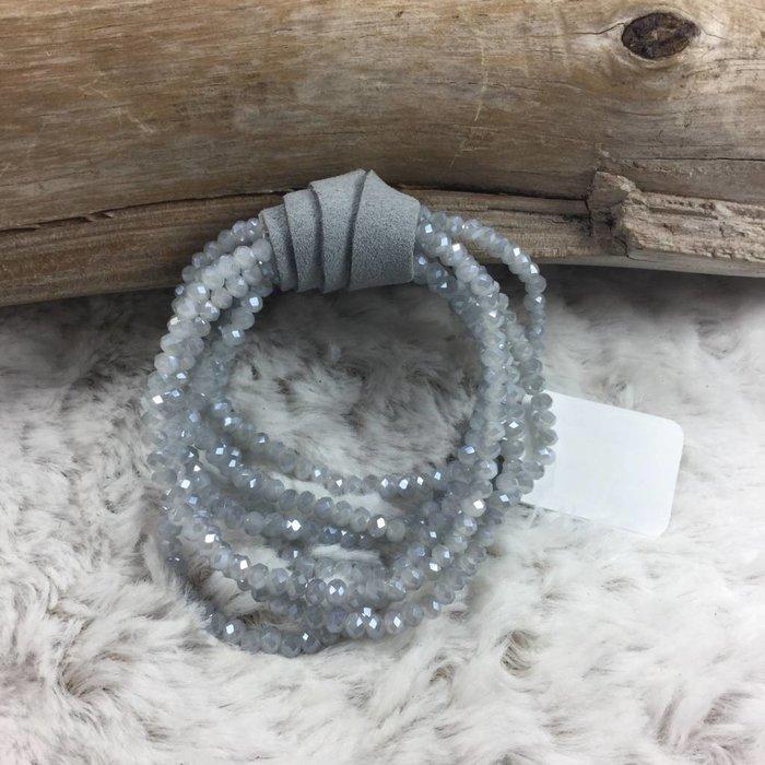 Grey Crystal Stretch Bracelet