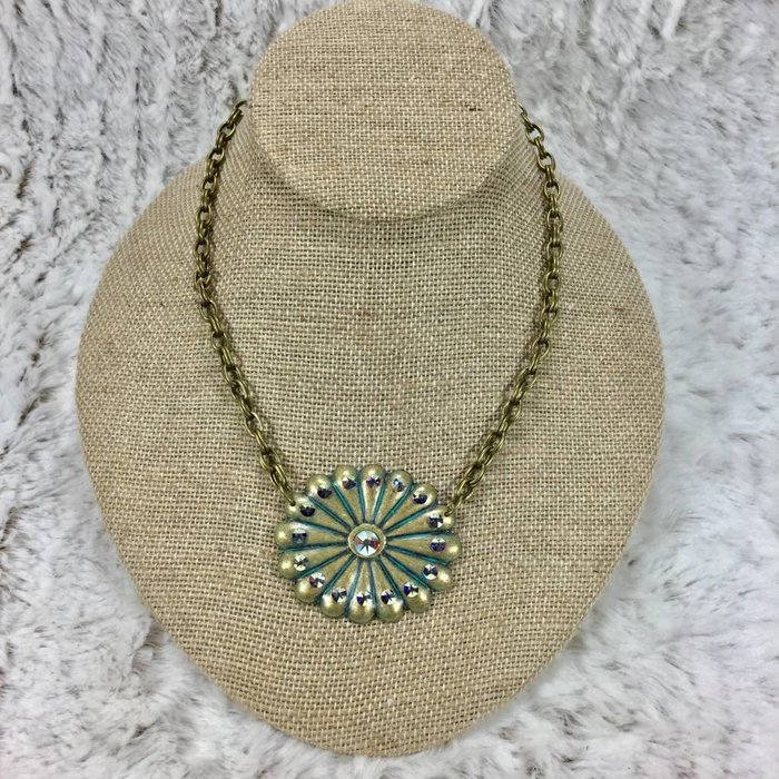 Patina Concho AB Swarovski Crystal Necklace