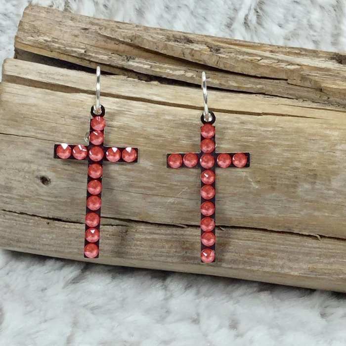 Candy Coral Swarovski Crystal Cross Earrings