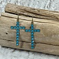Caribbean Blue Swarovski Crystal Cross Earrings